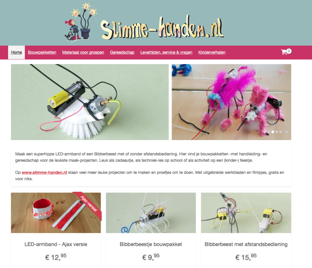 Screenshot webwinkel Slimme Handen